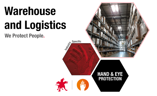 work gloves and safety glasses for warehouse and logistics
