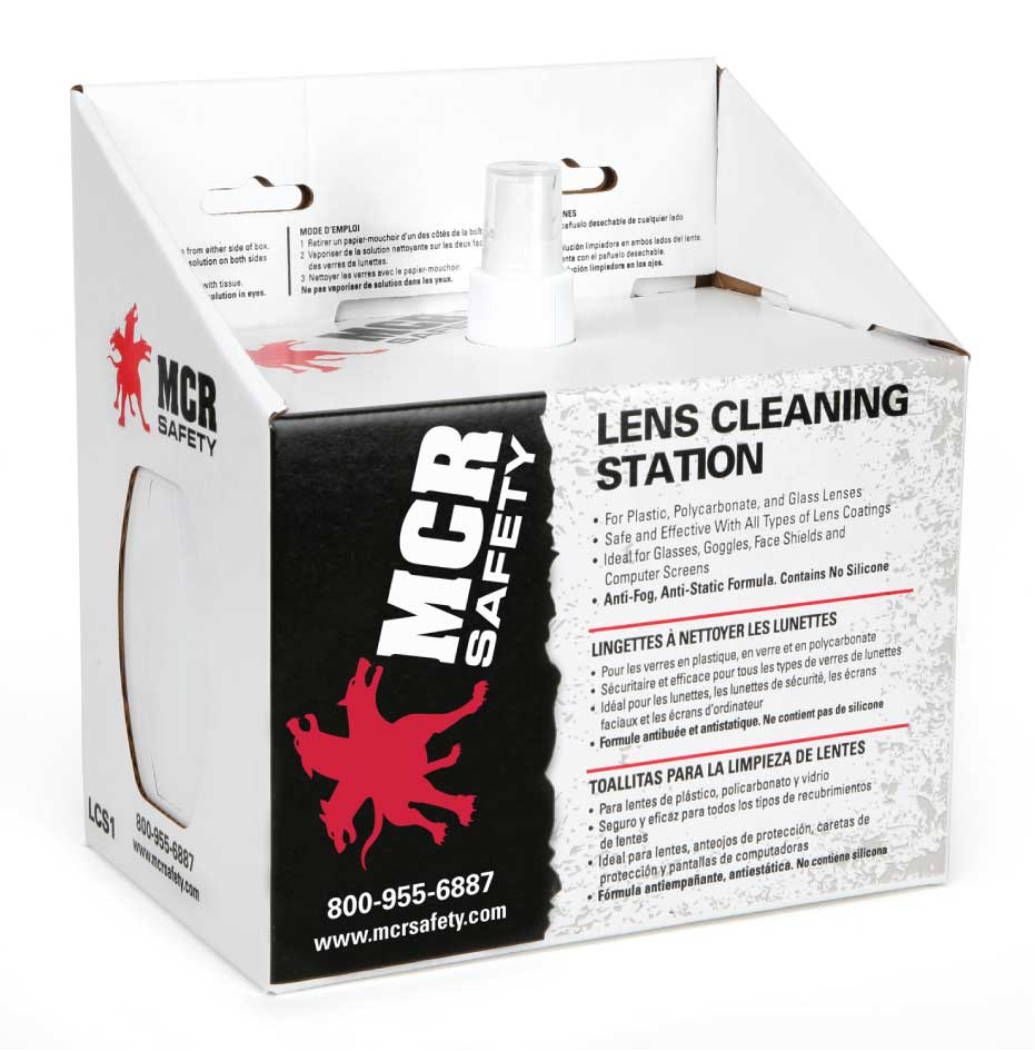 Lens Cleaning Station, 2 boxes of 300 tissues and 1 236ml bottle of anti-fog, anti-static cleaning spray (6 each per case)